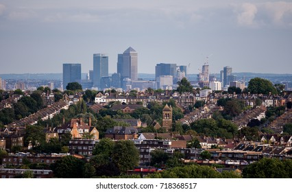 London, UK - August 24, 2017: Canary wharf as seen from the Alexandra Park