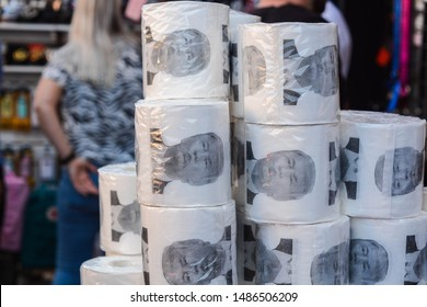 London, UK, August 24, 2019: Toilet paper with Donald Trump portrait printed on it