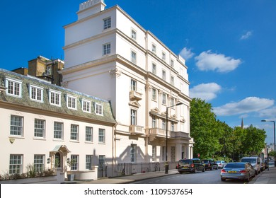 London, UK - August 25, 2017: Residential aria of Belgravia. Luxury property in the centre of London. Row of periodic buildings