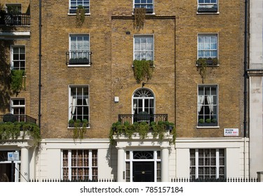 London, UK - August 25, 2017: City of Westminster, Belgrave residential area. Luxury property in the centre of London.