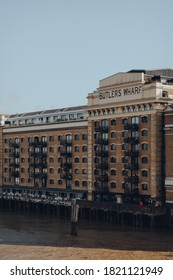 London, UK - August 25, 2020: Facade of the Butlers Wharf, an English historic building at Shad Thames on the south bank of the River Thames in London, UK.