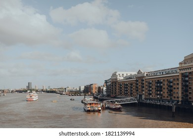 London, UK - August 25, 2020: View of Butlers Wharf Pier by the historic Butlers Wharf building at Shad Thames on the south bank of the River Thames in London, UK.