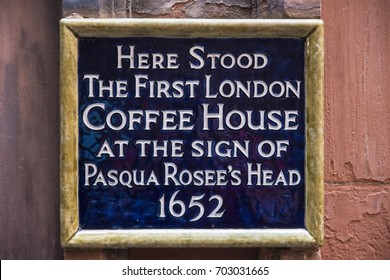 LONDON, UK - AUGUST 25TH 2017: A blue plaque marking the location where the first Coffee House in London once stood in the 17th century, taken on 25th August 2017.