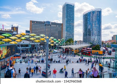 London, UK. August 26, 2019.Shoppers head towards the Stratford Centre near Stratford Station in Stratford, London.
