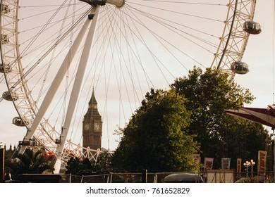 LONDON, UK - AUGUST 27, 2015: A London main sights. London Eye and Big Ben.