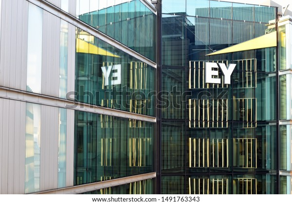 London, UK - August 27 2019: EY building in London with logo clearly visible and glass reflections