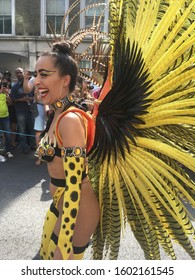 London / UK - August 27th 2018: Carnival Dancers and Revellers at Notting Hill Carnival Street Festival of Caribbean Culture in London