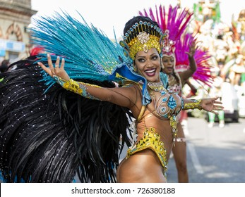 London, UK, August 28th, 2017, Sexy female samba dancers taking part in the Notting Hill Carnival parade.