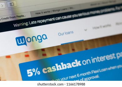 LONDON, UK - AUGUST 28th 2018: Wonga payday lender logo on a computer screen. Wonga is a payday loan company offering short-term, high-cost credit.