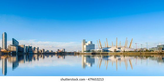 London, UK - August 30, 2016 - Panoramic view of river Thames, north Greenwich and O2 arena.