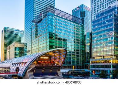 London, UK - August 30, 2016 - Illuminated Crossrail Place in Canary Wharf, financial district of London