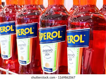 LONDON, UK - AUGUST 31, 2018: Bottles of Aperol Aperitivo summer cocktail drink.
