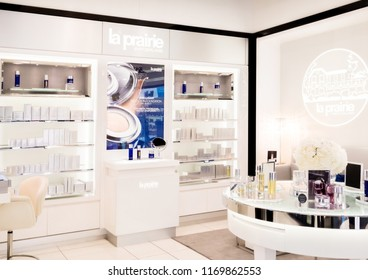 LONDON, UK - AUGUST 31, 2018: La Prairie perfume and cosmetic makeup luxury collection in boutique store. Elegant shop.