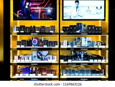 LONDON, UK - AUGUST 31, 2018: Yves Saint Laurent perfume and cosmetic makeup