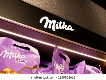 LONDON, UK - AUGUST 31, 2018: Milka chocolate display board with sign in food store.