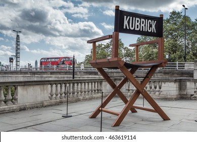 LONDON, UK - AUGUST 4, 2016:  Giant sculpture of Stanley Kubrick's director's chair outside Somerset House, to accompany the 'Daydreaming with Stanley Kubrick' exhibition