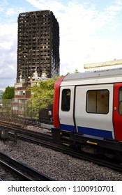 London, UK August 4, 2017 A view of the burnt Grenfell tower from the Latimer Road tube station London, UK on August 4, 2017
