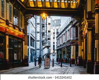 London, UK - August 4, 2018 - Leadenhall Market and the Lloyd's building