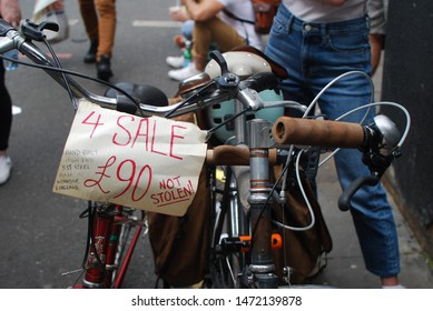 London, UK - August 4 2019: bike for sale with handwritten not stolen sign