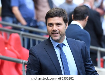 LONDON, UK - AUGUST 5, 2017: Tottenham manager Mauricio Pochettino pictured prior to the 2017/18 preseason friendly between Tottenham and Juventus at Wembley Stadium.