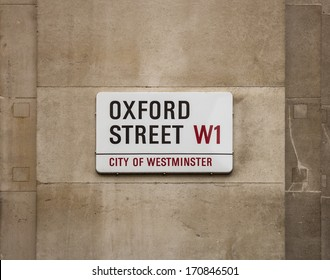 LONDON, UK - AUGUST 6, 2013: A sign on a street wall for Oxford Street in Central London