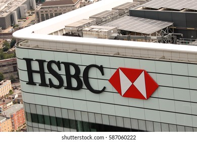 LONDON, UK - AUGUST 6, 2015: HSBC Retail Bank Sign in Canary Wharf