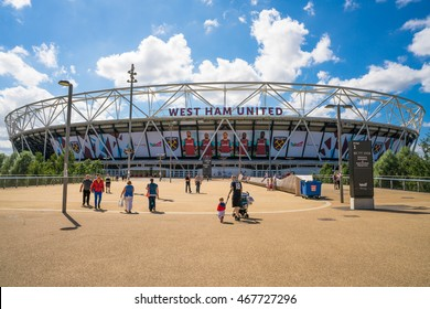 LONDON, UK - AUGUST 7, 2016: View of the Olympic Stadium - the legacy of the Games it was closed for renovation in 2013. Once re-opened in July 2016, it became a home of West Ham United Football Club