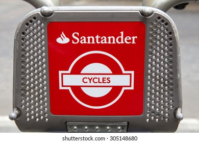 LONDON, UK - AUGUST 7TH 2015: Cycle Hire sponsored by Santander in central London, on 7th August 2015.