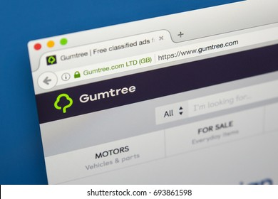 LONDON, UK - AUGUST 7TH 2017: The homepage of the website for Gumtree  - the British online classifieds and community website, on 7th August 2017.