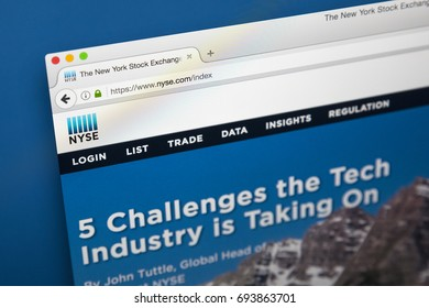 LONDON, UK - AUGUST 7TH 2017: The homepage of the official website for the New York Stock Exchange, on 7th August 2017.