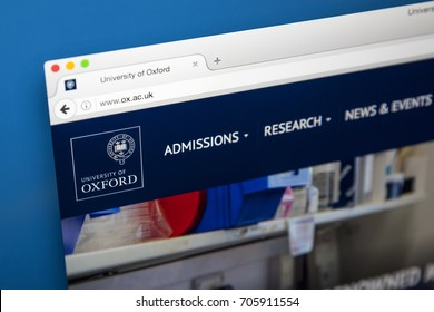 LONDON, UK - AUGUST 7TH 2017: The homepage of the official website for the University of Oxford, on 7th August 2017.