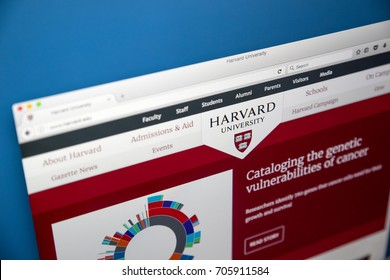 LONDON, UK - AUGUST 7TH 2017: The homepage of the official website for Harvard University - located in Massachusetts, it is one of the worlds most prestigious universities, on 7th August 2017.