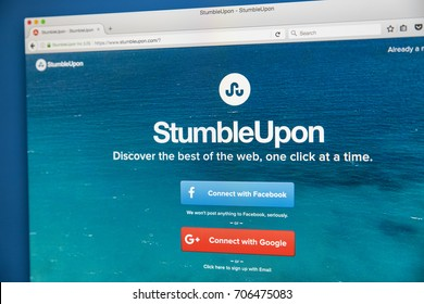 LONDON, UK - AUGUST 7TH 2017: Homepage of the official website for StumbleUpon - a search engine that allows users to discover webpages that are personalised to their interests, on 7th August 2017.