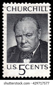 London, UK, August 8 2010 - Vintage circa 1965 United States of America cancelled postage stamp showing a portrait image Winston Churchill