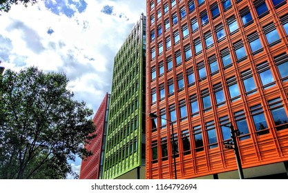 London, UK  August 8 2016 Orange and green fronted building on Shaftsbury Ave and High Holborn A40