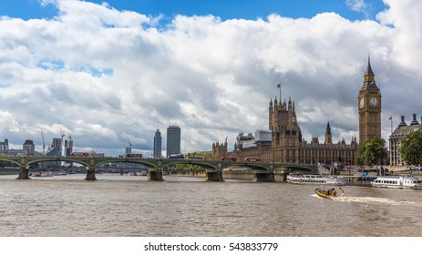 LONDON UK, AUGUST 8, 2016: panoramic view over the river Thames, Westminster bridge, and in the background the Palace of Westminster Big Ben, London, England, UK