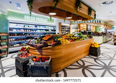 LONDON, UK- August 8, 2019. Posh supermarket grocery with fresh vegetables and fruits fresh Organic bio store