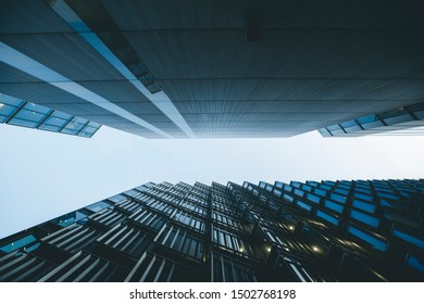 LONDON, UK- August 8, 2019. Looking up financial district in London,
