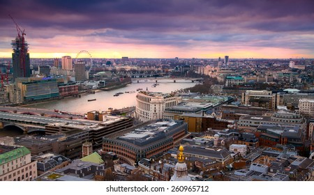 LONDON, UK - AUGUST 9, 2014. London's panorama in sunset from St. Paul cathedral.