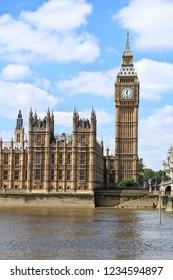 London UK - Big Ben clock tower and Westminster bridge.
