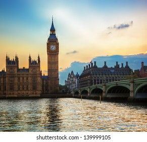 London, the UK. Big Ben, the Palace of Westminster at sunset. The icon of England