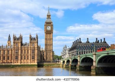 London, UK - Big Ben and Westminster Bridge.