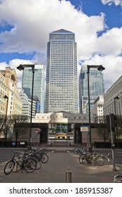 LONDON, UK - CANARY WHARF, MARCH 22, 2014: Carbot square, West India avenue, biggest business district in London, View on Canada tower, City bank and HSBC bank