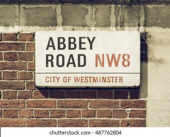 LONDON, UK - CIRCA 2014: Vintage looking Abbey Road street sign, NW8, London, England, UK