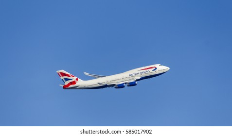 LONDON, UK: CIRCA 2015: British Airways Boeing 747