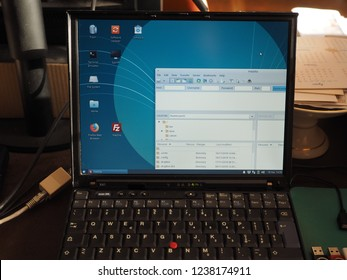 LONDON, UK - CIRCA 2018: Vintage IBM ThinkPad X41 laptop pc with Xubuntu. A lightweight operating system brings new life to perfectly working old computers too slow for current operating systems