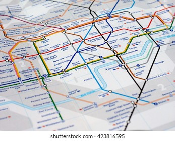 london uk circa april 2016 detail of the tube map with selective focus