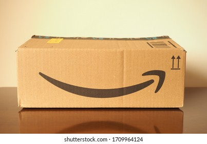 LONDON, UK - CIRCA APRIL 2020: Amazon packet