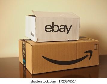 LONDON, UK - CIRCA APRIL 2020: Ebay and Amazon packets