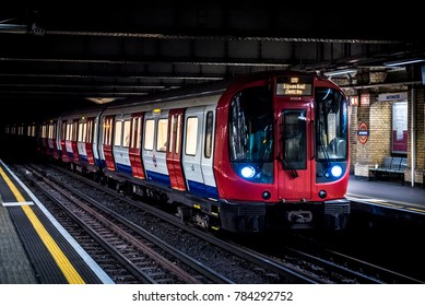 LONDON, UK - CIRCA DECEMBER, 2016: A tube train on the London underground at Bayswater. Bayswater Tube Station is on the Circle and District lines.